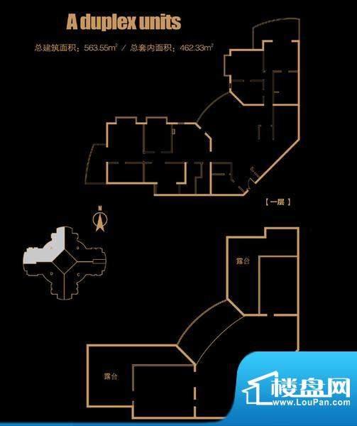 俯台东塔跃层3504户型 4室2厅2面积:563.55平米