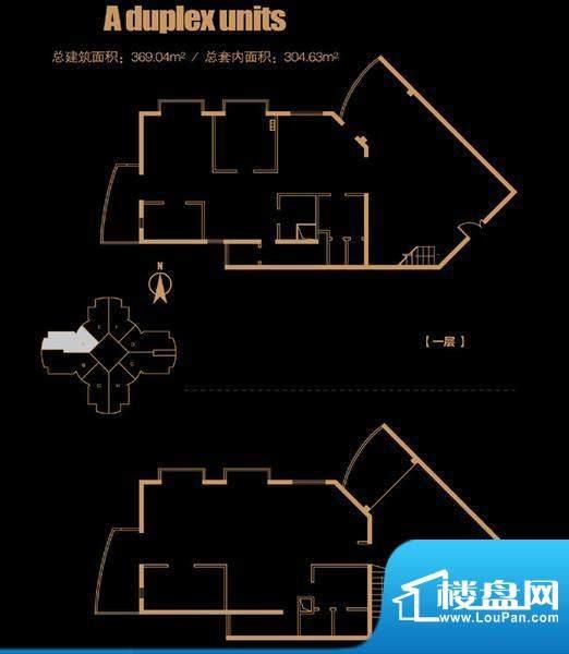 俯台西塔跃层29A户型 4室2厅2卫面积:369.04平米