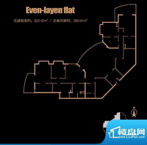 俯台西塔平层33A户型 4室2厅2卫面积:352.42平米