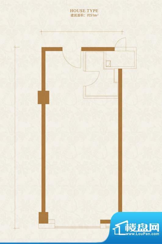 金茂府·悦公馆U1户型 1厅1卫1面积:51.00平米