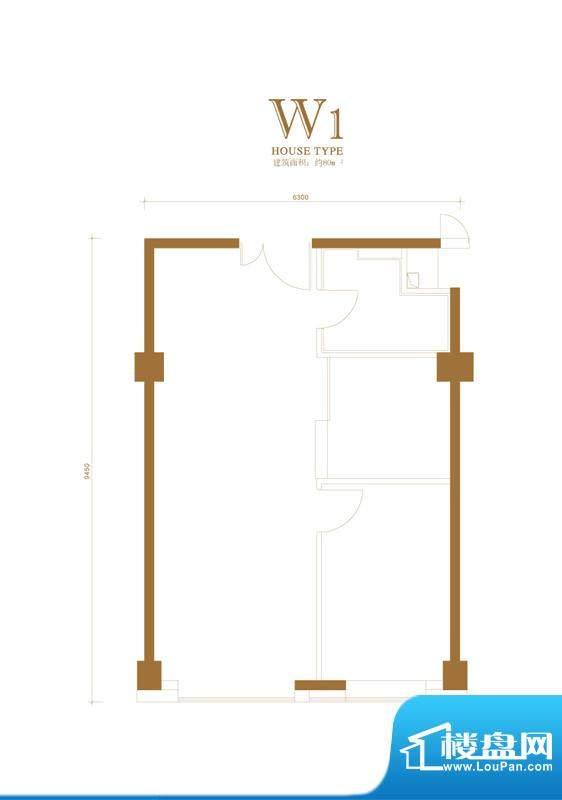 金茂府·悦公馆W1户型 1室1厅1面积:80.16平米
