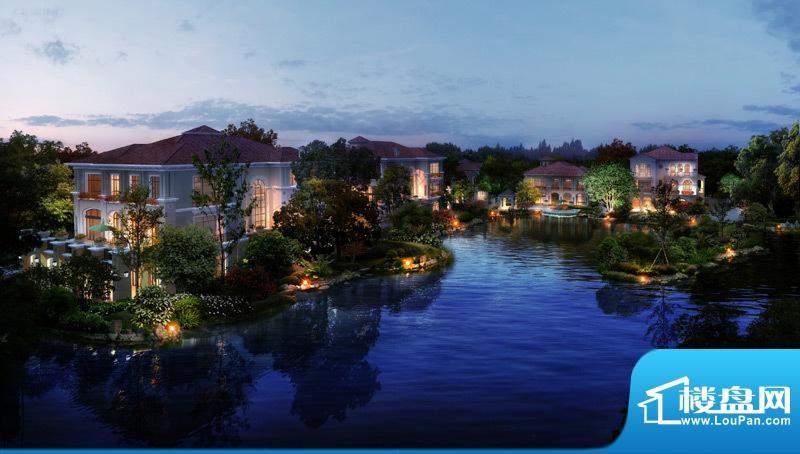 龙熙·瓦德拉玛庄园中央景观湖鸟瞰夜景