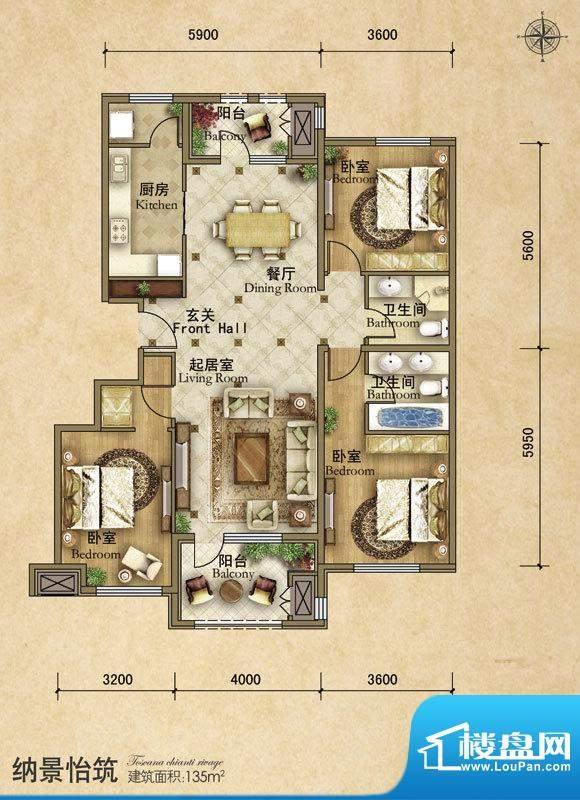 龙湖·香醍溪苑纳景怡筑3居户型面积:135.00平米