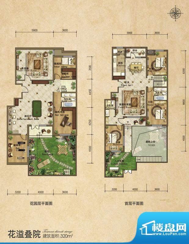龙湖·香醍溪苑花倚叠院6居户型面积:320.00平米