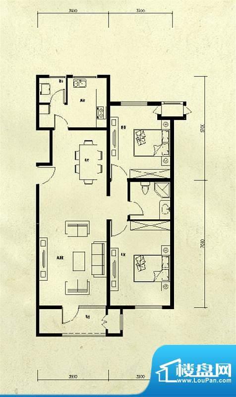 龙湖·香醍溪苑2居户型图 2室2面积:75.00平米