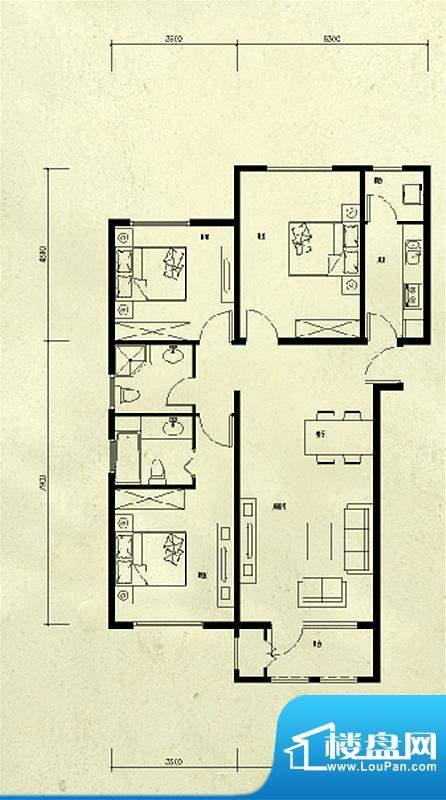 龙湖·香醍溪苑3居户型图 3室2面积:100.00平米