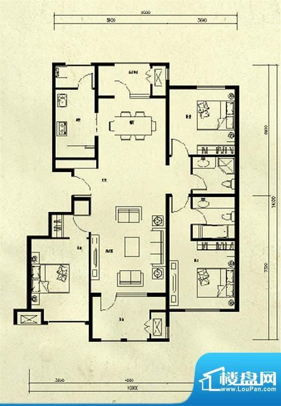 龙湖·香醍溪苑3居户型图 3室2面积:130.00平米