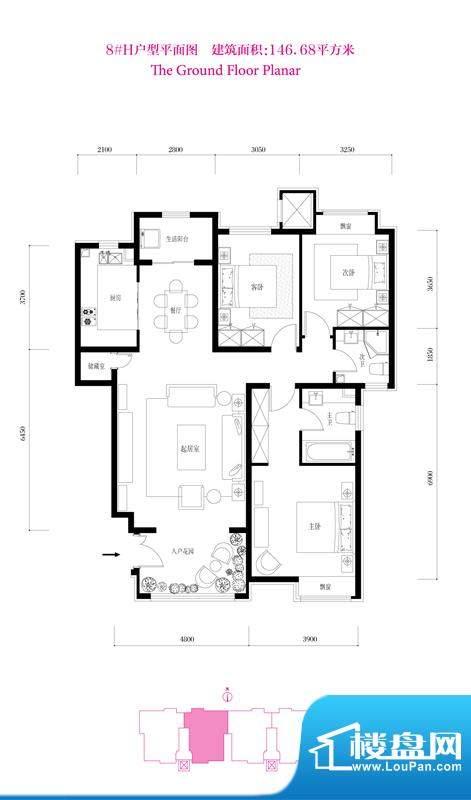 鸿坤·花语墅8#H户型 3室2厅1卫面积:146.68平米