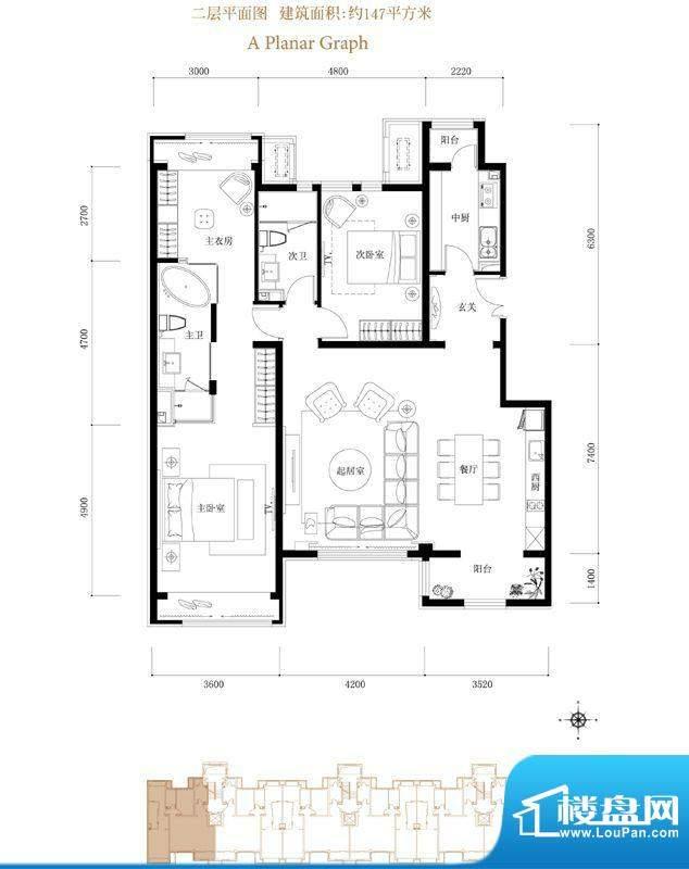 鸿坤·花语墅A3-2户型 2室2厅2面积:147.00平米
