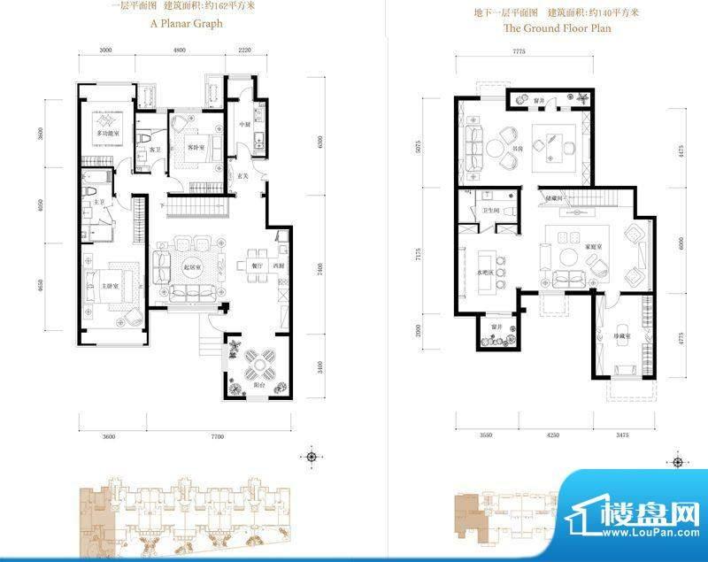 鸿坤·花语墅1层户型图 4室2厅面积:302.00平米