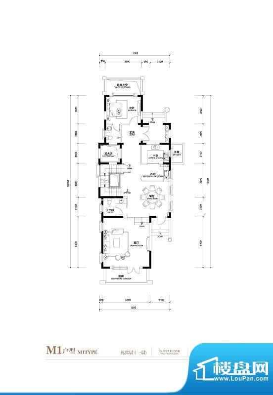 棕榈滩中央墅M1户型 礼宾层一层面积:776.00平米
