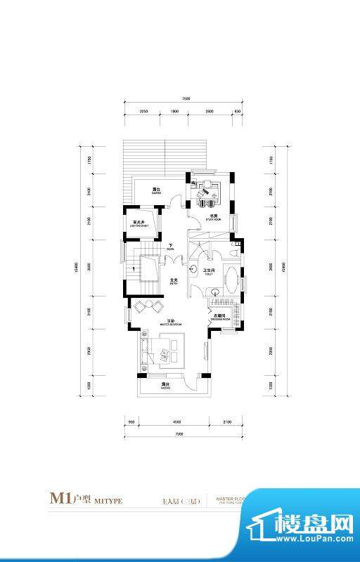 棕榈滩中央墅M1户型 主人三层 面积:776.00平米