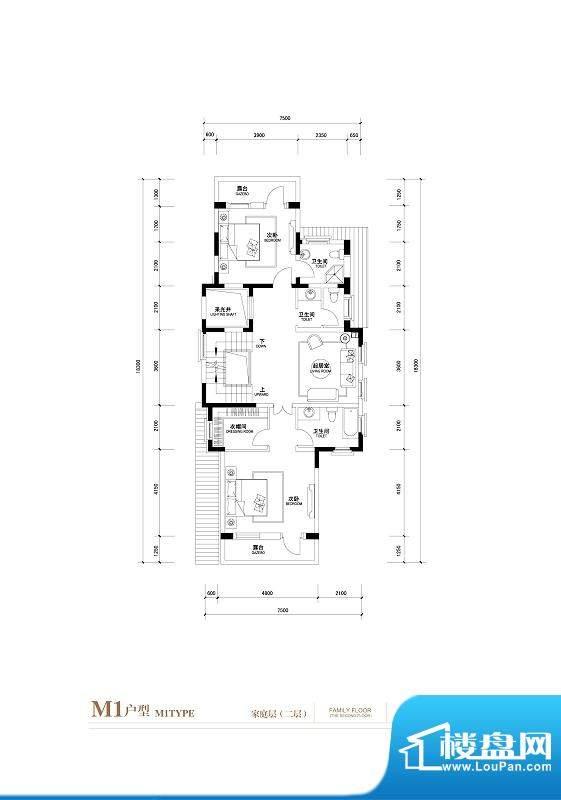 棕榈滩中央墅M1户型 家庭层二层面积:776.00平米