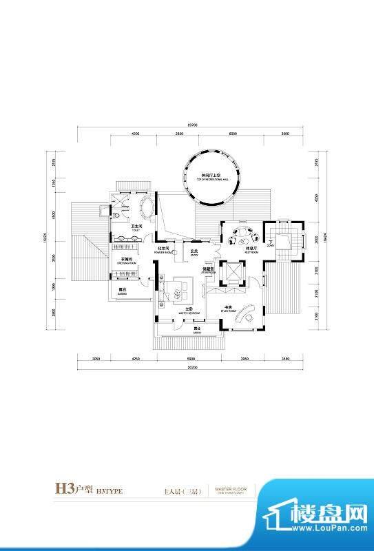 棕榈滩中央墅H3户型(主人层3层面积:1402.00平米