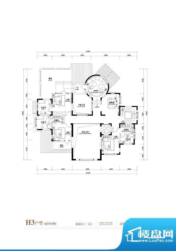 棕榈滩中央墅H3户型(家庭层2层面积:1402.00平米