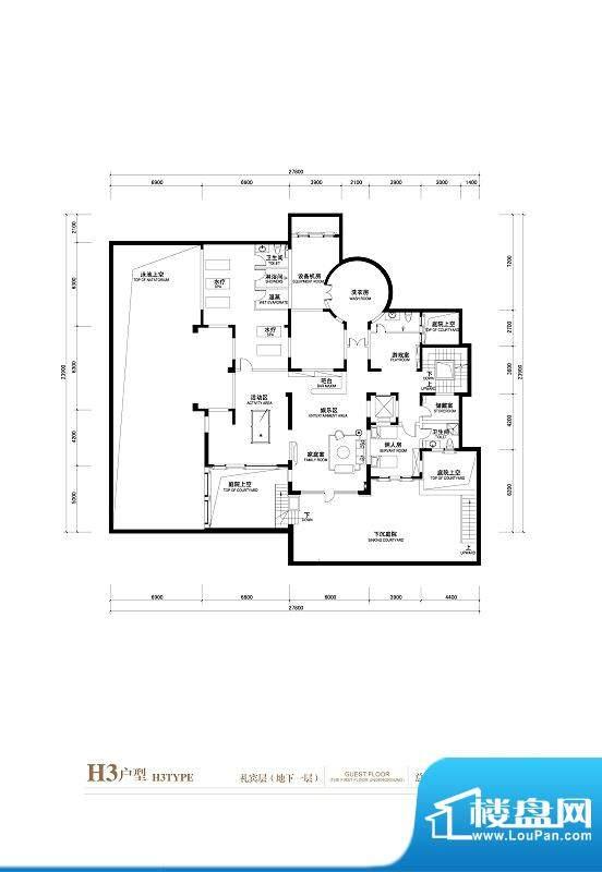 棕榈滩中央墅H3户型(礼宾层地面积:1402.00平米