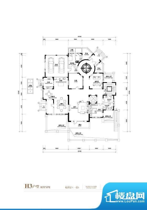 棕榈滩中央墅H3户型(礼宾层1层面积:1402.00平米