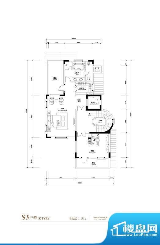 棕榈滩中央墅S3户型主人层3层 面积:1145.00平米