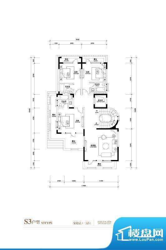 棕榈滩中央墅S3户型家庭层2层 面积:1145.00平米