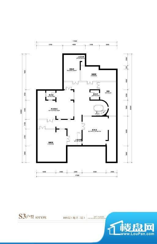 棕榈滩中央墅S3户型DIY层地下2面积:1145.00平米