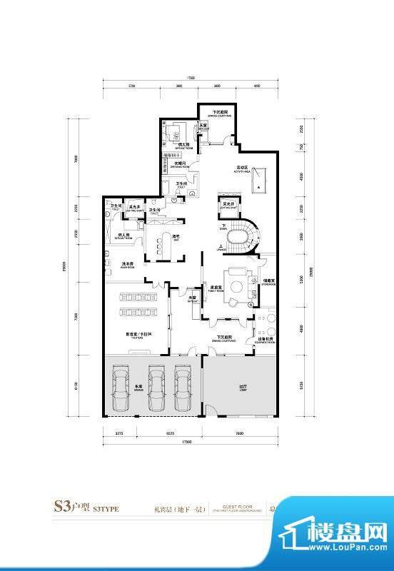 棕榈滩中央墅S3户型礼宾层地下面积:1145.00平米