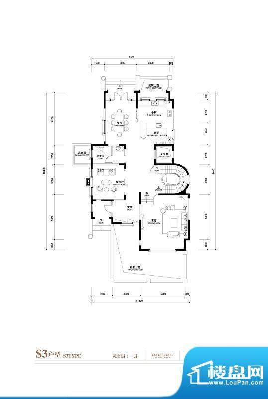 棕榈滩中央墅S3户型礼宾层1层 面积:1145.00平米