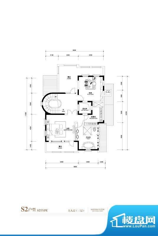 棕榈滩中央墅S2户型主人层3层 面积:1059.00平米