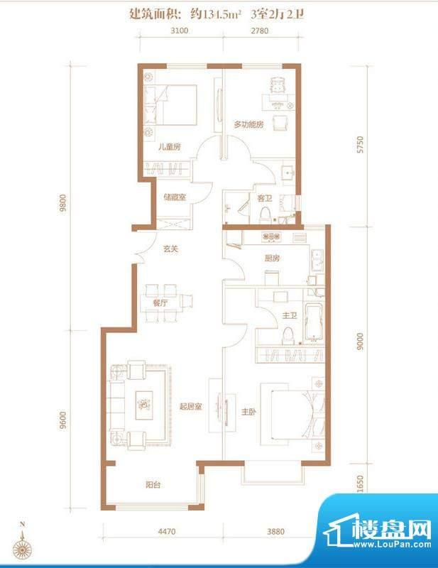 亚奥·金茂悦C4户型 3室2厅2卫面积:134.50平米