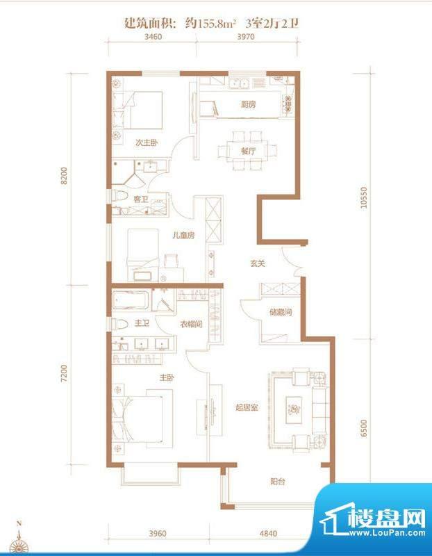 亚奥·金茂悦C1户型 3室2厅2卫面积:155.80平米