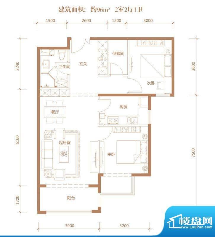 亚奥·金茂悦B1户型 2室2厅1卫面积:96.00平米