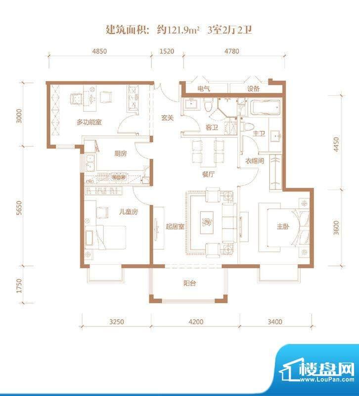亚奥·金茂悦C8户型 3室2厅2卫面积:121.90平米