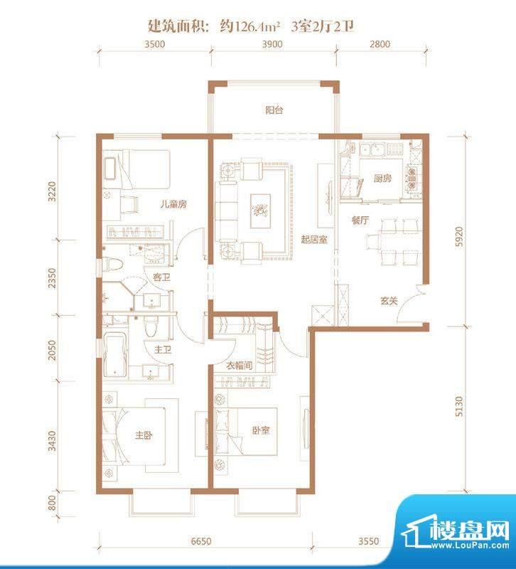 亚奥·金茂悦C9户型 3室2厅2卫面积:126.40平米