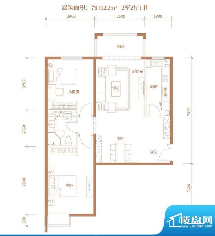 亚奥·金茂悦C10户型 2室2厅1卫面积:102.20平米