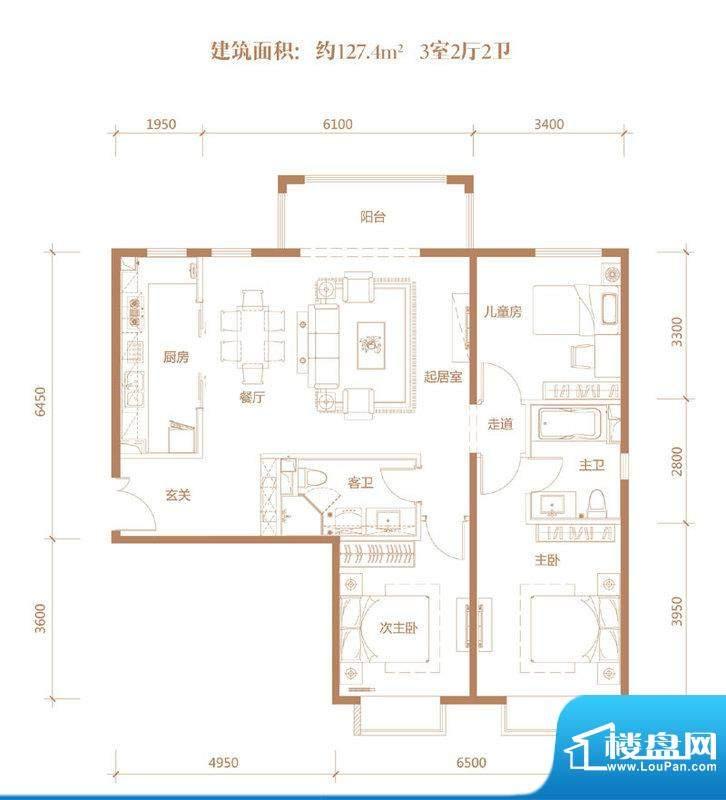 亚奥·金茂悦C11户型 3室2厅2卫面积:127.40平米