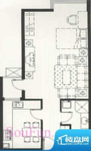 玺萌公馆C反户型 1室2厅1卫1厨面积:56.51平米