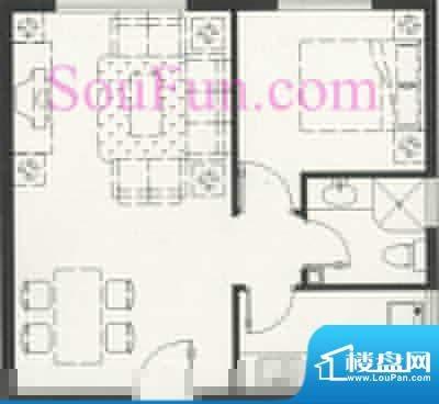 玺萌公馆B反户型 1室2厅1卫1厨面积:51.17平米