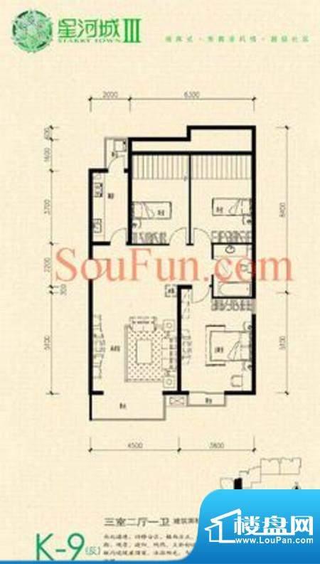 玺萌公馆三期K-9(反)户型 3室2面积:118.91平米