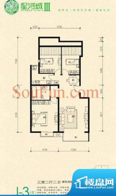 玺萌公馆三期J-3(反)户型 3室2面积:125.61平米