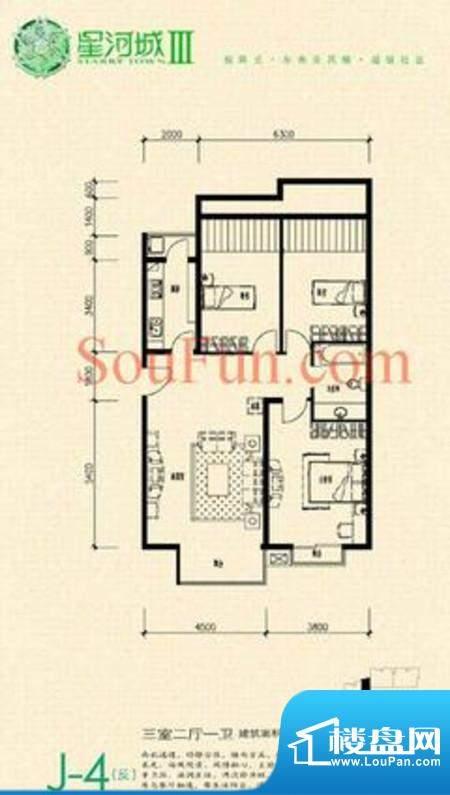 玺萌公馆三期J-4(反)户型 3室2面积:122.36平米