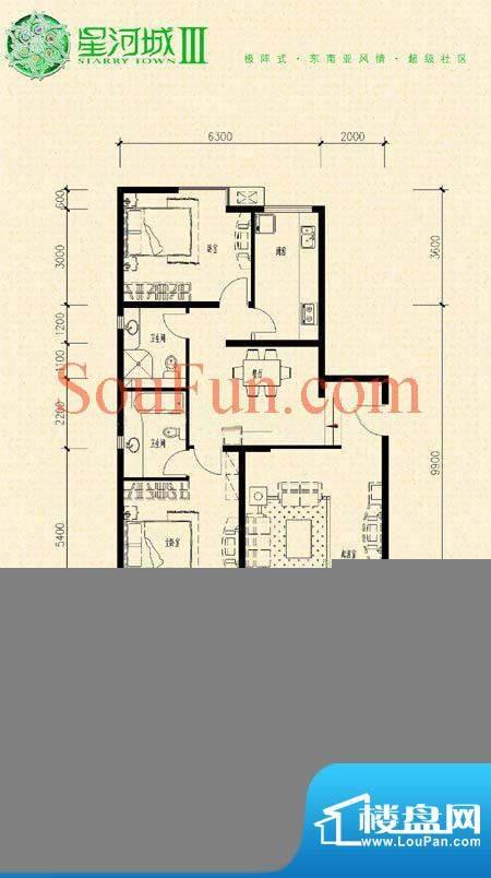 玺萌公馆三期K-5(反)户型 2室2面积:119.96平米