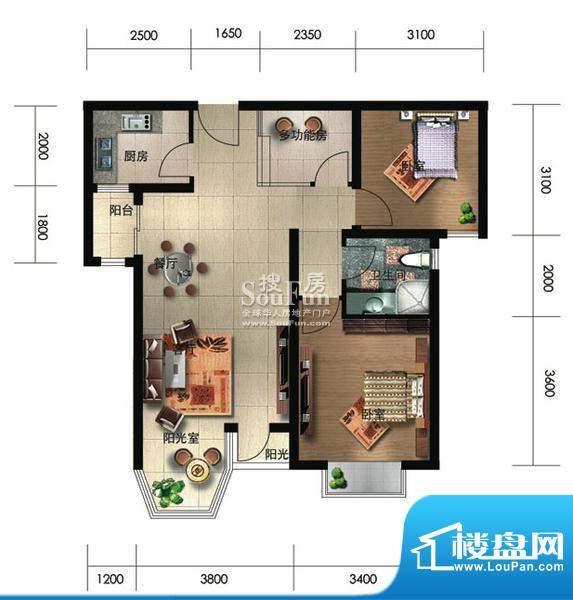 珠江奥古斯塔城邦B1户型 2室2厅面积:95.81平米