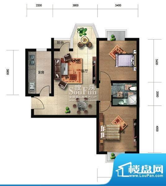 珠江奥古斯塔城邦B2户型 2室2厅面积:95.81平米