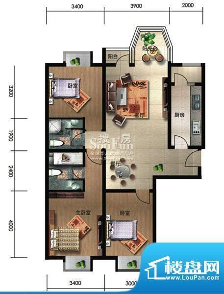 珠江奥古斯塔城邦C1户型 3室2厅面积:98.81平米