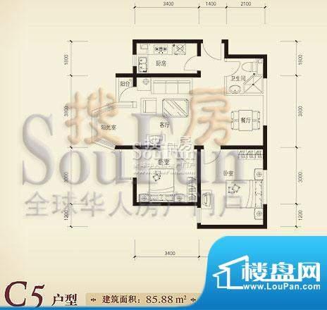 珠江奥古斯塔城邦C5户型 2室2厅面积:85.88平米