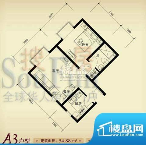 珠江奥古斯塔城邦A3户型 1室2厅面积:54.88平米