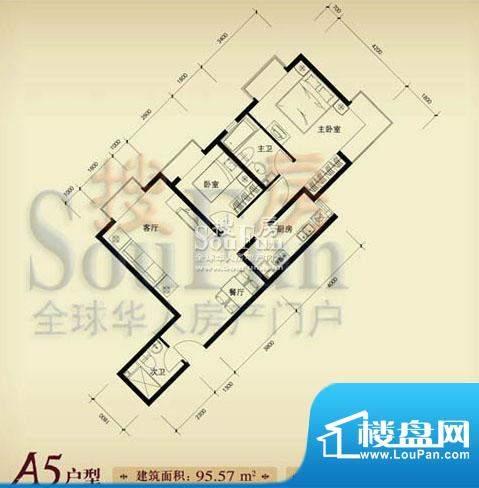 珠江奥古斯塔城邦A5户型 2室2厅面积:95.57平米
