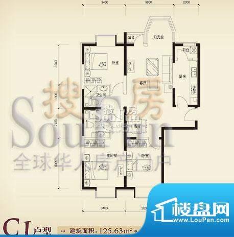 珠江奥古斯塔城邦C1户型 3室2厅面积:125.63平米