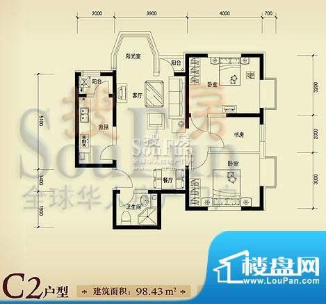 珠江奥古斯塔城邦C2户型 3室2厅面积:98.43平米