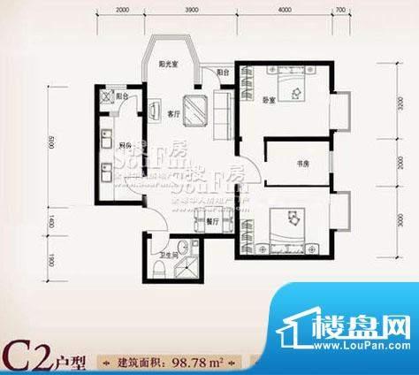 珠江奥古斯塔城邦C2户型2 3室2面积:98.78平米