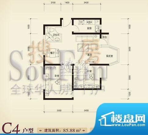 珠江奥古斯塔城邦C4户型 2室2厅面积:85.88平米